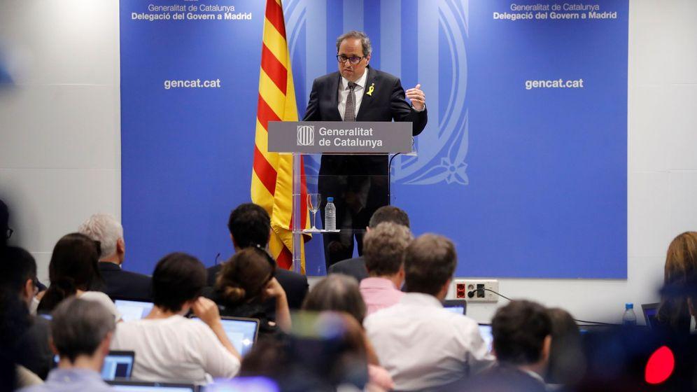 Foto: El presidente de la Generalitat de Catalunya, Quim Torra, durante su comparecencia ante los medios de comunicación en la librería Blanquerna de Madrid. (EFE)