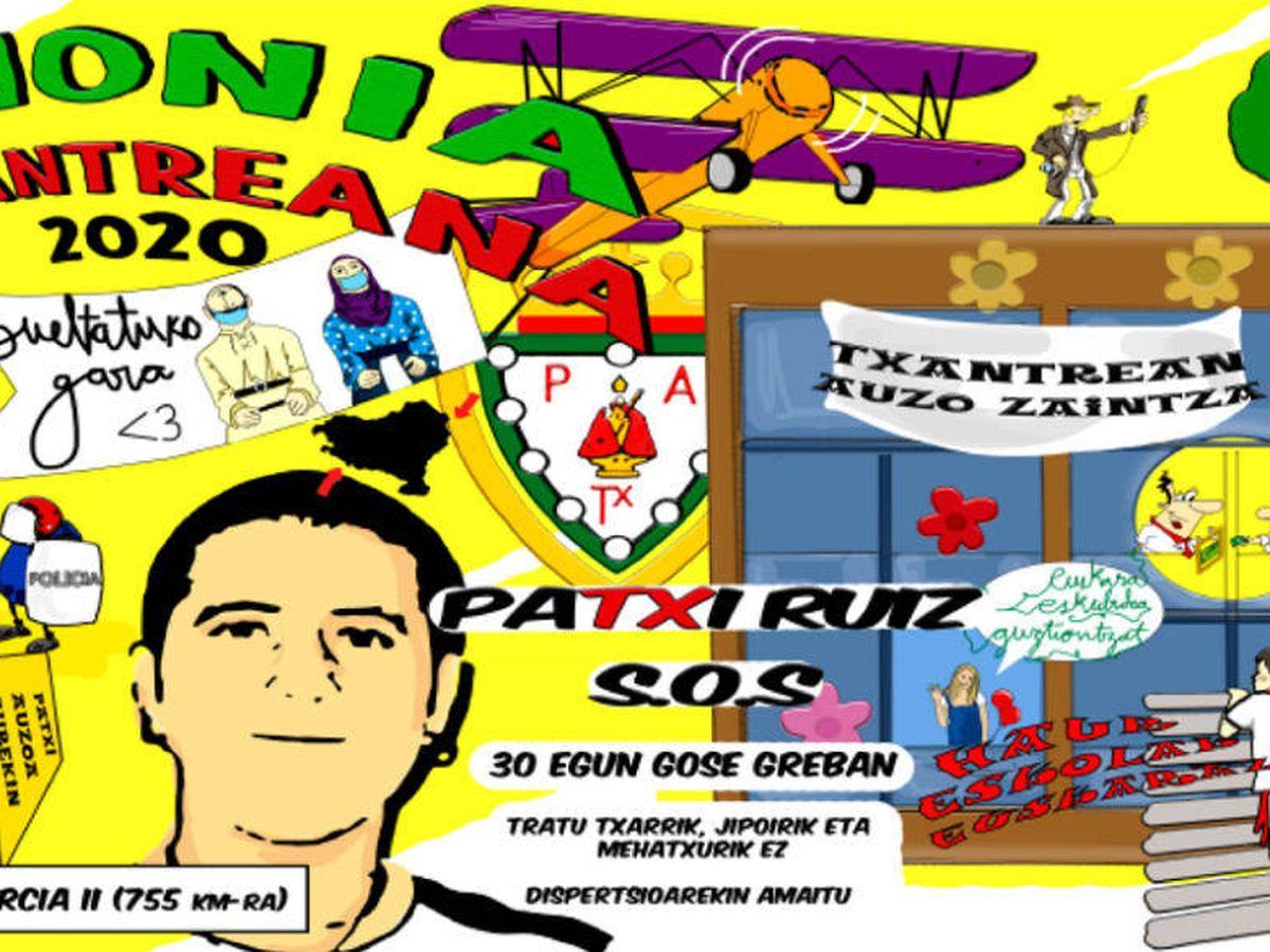 Foto: Pancarta de la peña Armonía Txantreana en apoyo al preso de ETA Patxi Ruiz. (EC)