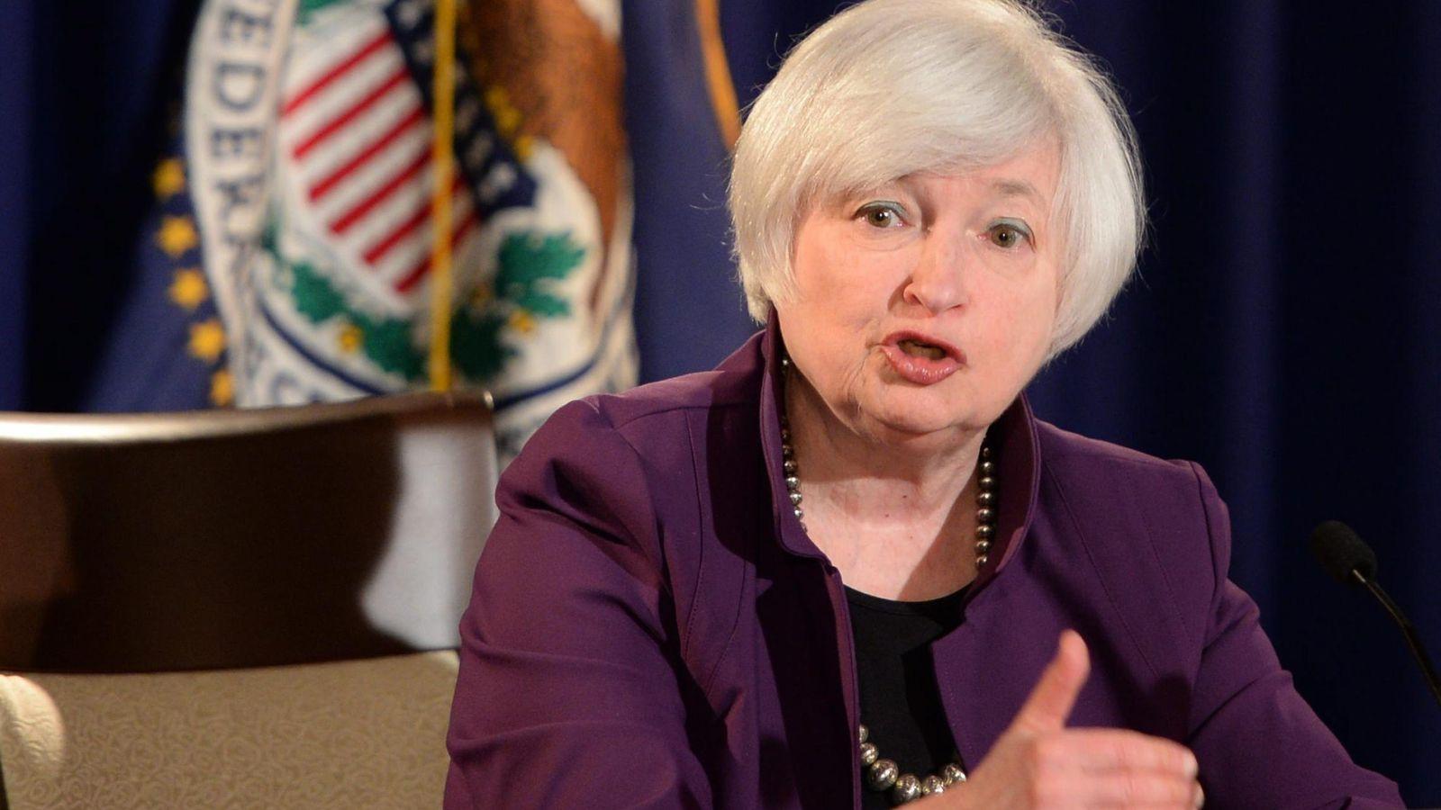 Foto: Conferencia de prensa de la presidenta de la Reserva Federal Janet Yellen