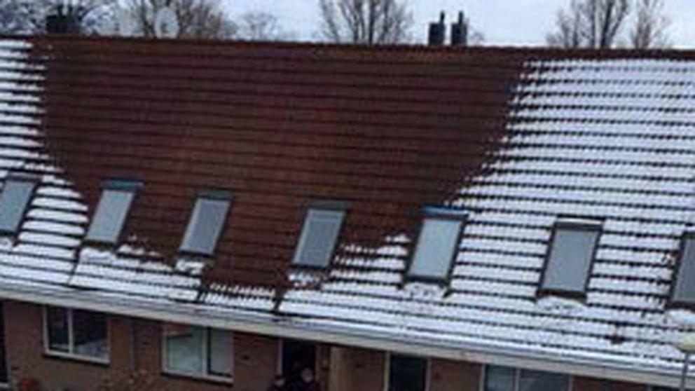 Un tejado sin nieve esconde una plantación de marihuana