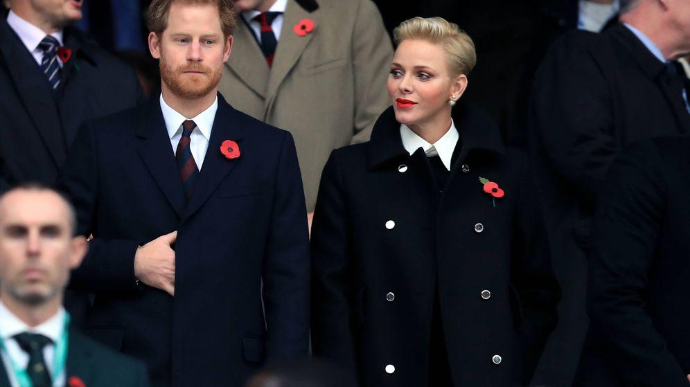 Foto: La princesa Charlène y Harry en un partido de rugby en Londres (Gtres)