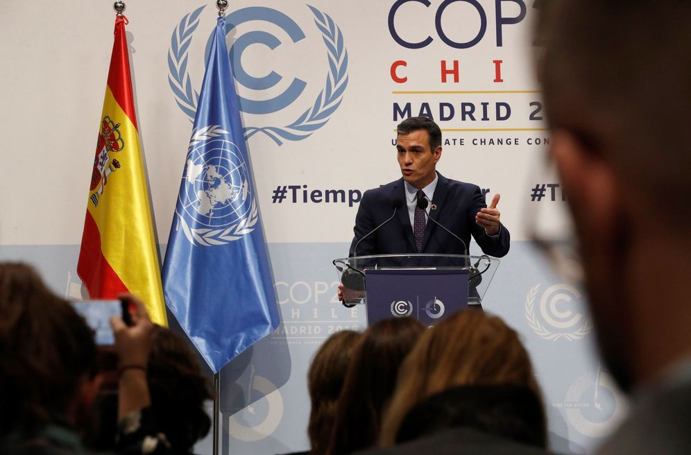 Foto: Pedro Sánchez, durante su comparecencia con el secretario general de la ONU, António Guterres, este 2 de diciembre en Madrid. (EFE)