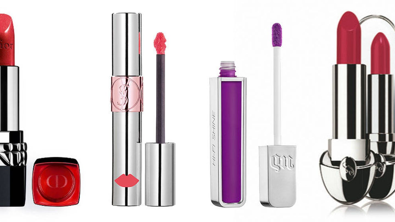 Rouge Dior en tono 999 de Dior. Volupté Liquid Color Balm by YSL de Yves Saint Laurent. Hi-Fi shine Ultra Cushion Lip Gloss de Urban Decay. Rouge G nº 25 de Guerlain.