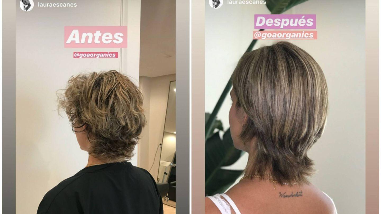 El antes y después del cabello de Laura. (Instagram @lauraescanes)