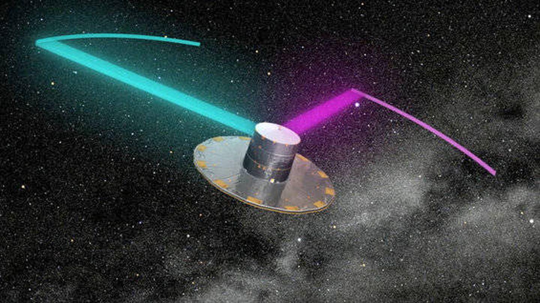 Ilustración del satélite Gaia peinando movimientos estelares (ESA)