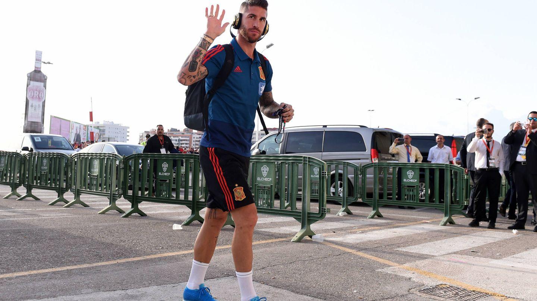 Sergio Ramos, antes de jugar un partido. (Getty)
