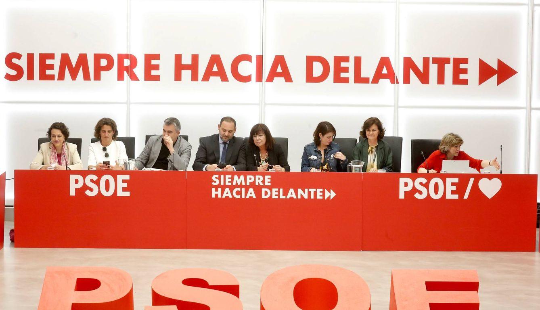 José Luis Ábalos preside la reunión de la ejecutiva del PSOE de este 27 de mayo en Ferraz. (Inma Mesa   PSOE)