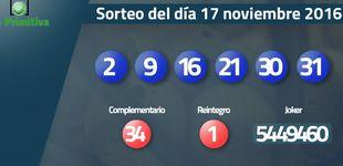 Post de Resultados del sorteo de la Primitiva del 17 noviembre 2016: números 2, 9, 16, 21, 30, 31