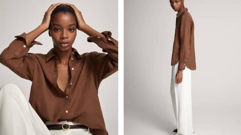 Camisa marrón de Massimo Dutti. (Cortesía)