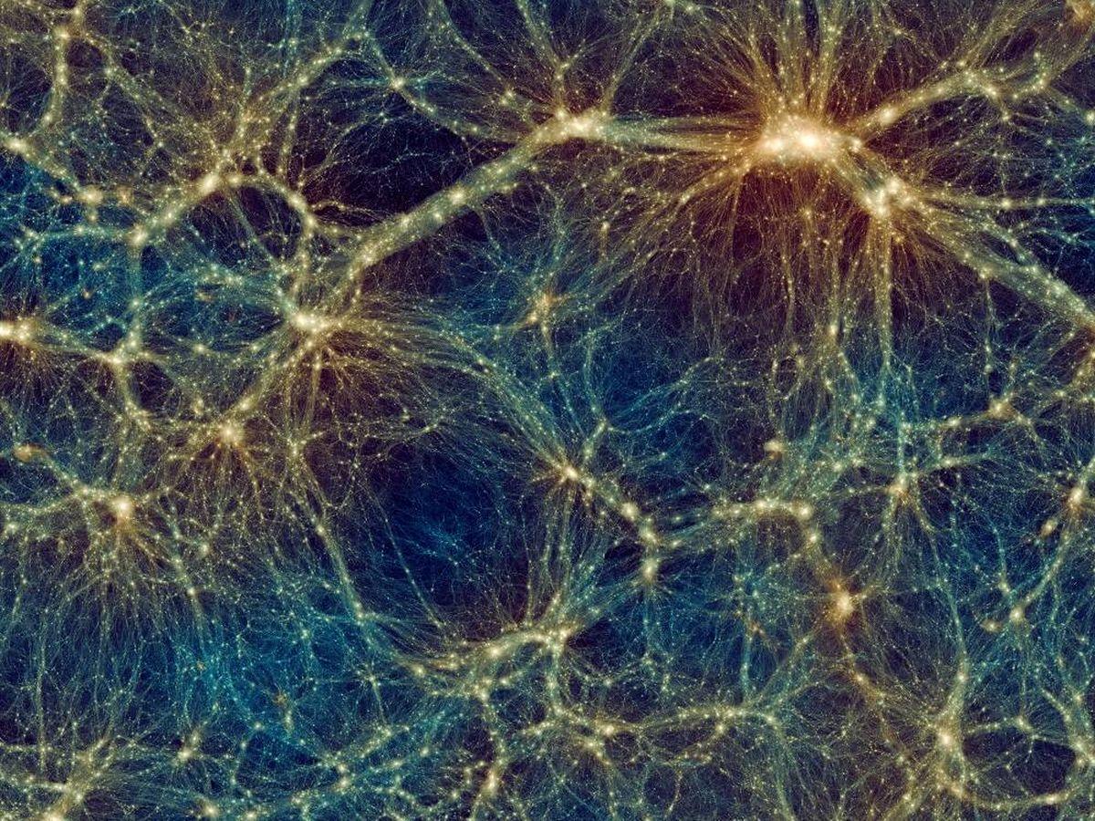 Foto: Imagen de Uchuu que muestra la distribución a gran escala de la materia del universo. (CSIC)