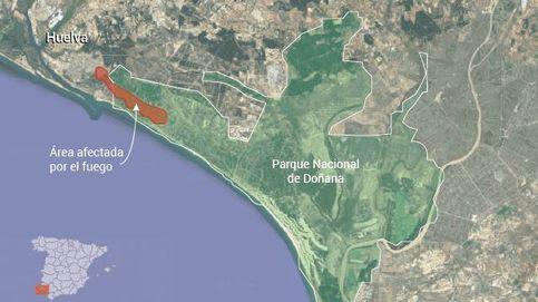 El mapa del incendio de Doñana: este es el área afectada por el fuego de Moguer