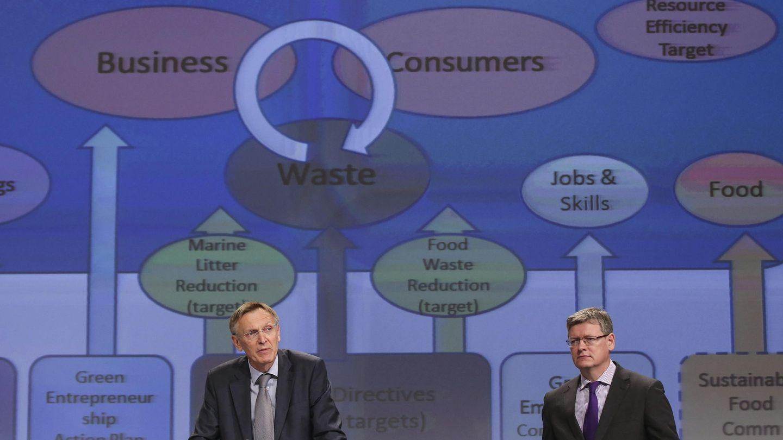Presentación del paquete de economía circular de la UE. (EFE)