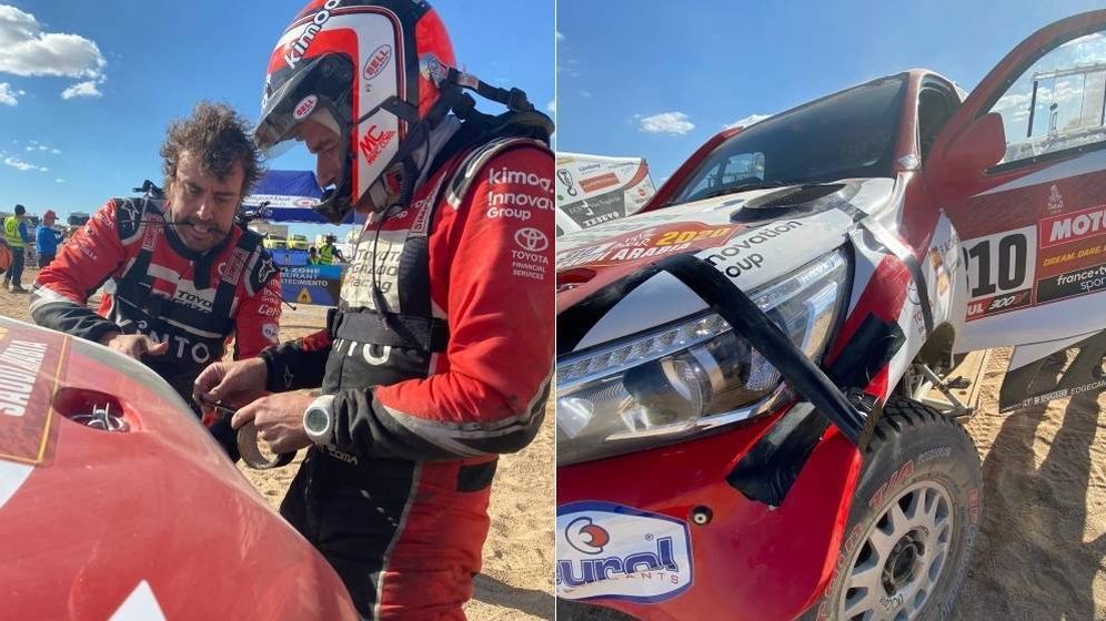 Foto: Fernando Alonso y Marc Coma, intentando reparar su Toyota después del accidente. (Foto: Dakar)