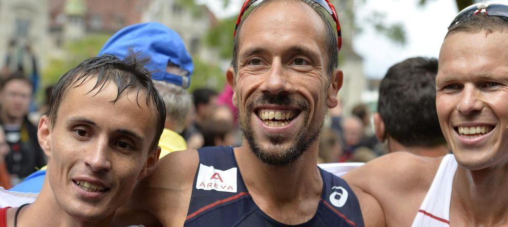 Foto: Los atletas Ivan Noskov (izq), el francés Yohann Diniz (c) y el eslovaco Matej Toth (dcha). (Efe)