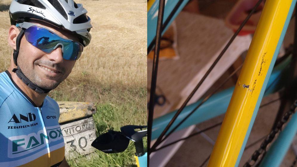 Foto: A la izquierda, Carlos López durante una competición. A la derecha, el cuadro roto de su bicicleta.