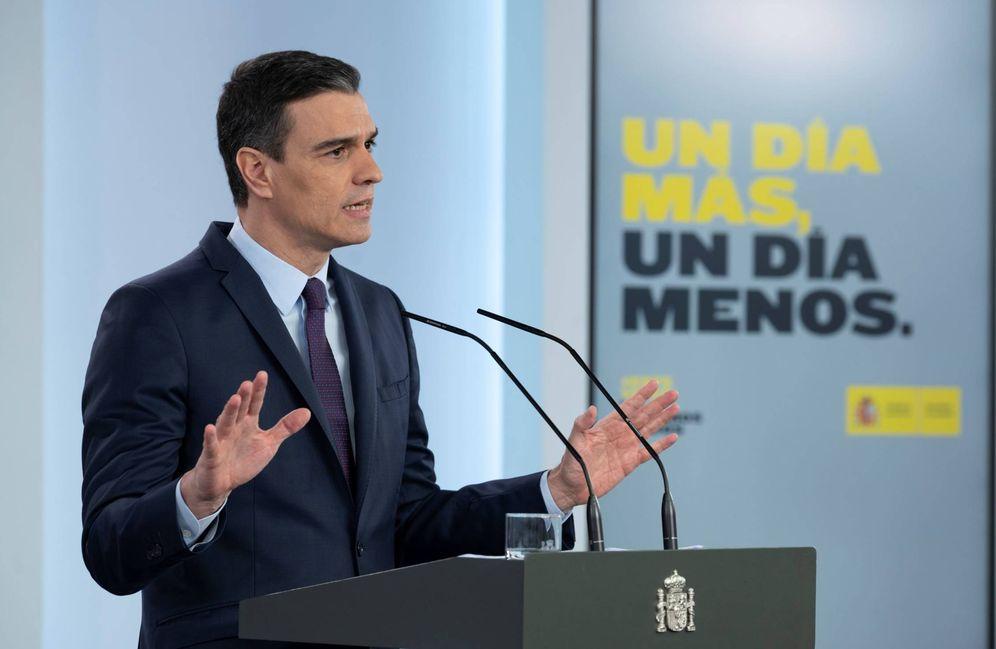 Foto: Pedro Sánchez, este 2 de mayo durante su comparecencia en la Moncloa. (Borja Puig   Moncloa)
