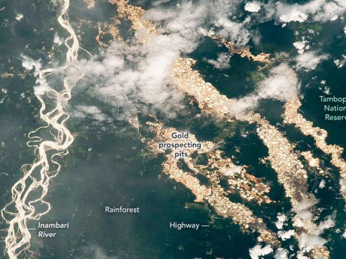 Foto: Los ríos de oro de Perú que la NASA ha logrado recoger desde el espacio. (NASA)