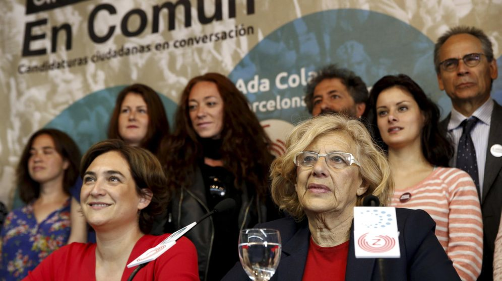 Foto: La candidata de Ahora Madrid a la alcaldía de la capital, Manuela Carmena, y la de Barcelona en Comú a la alcaldía de esta ciudad, Ada Colau. (Efe)