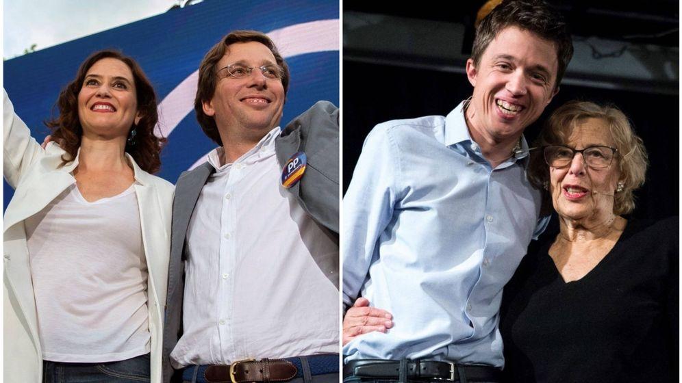 Foto: Los candidatos del PP y Más Madrid a la alcaldía de Madrid y la comunidad. (El Confidencial)