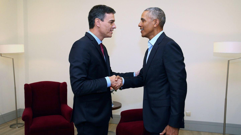 Pedro Sánchez y Barack Obama, juntos en Madrid. (EFE)