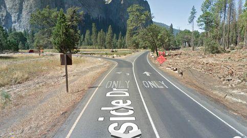 El desvío en una carretera de Yosemite que no saben interpretar algunos Tesla