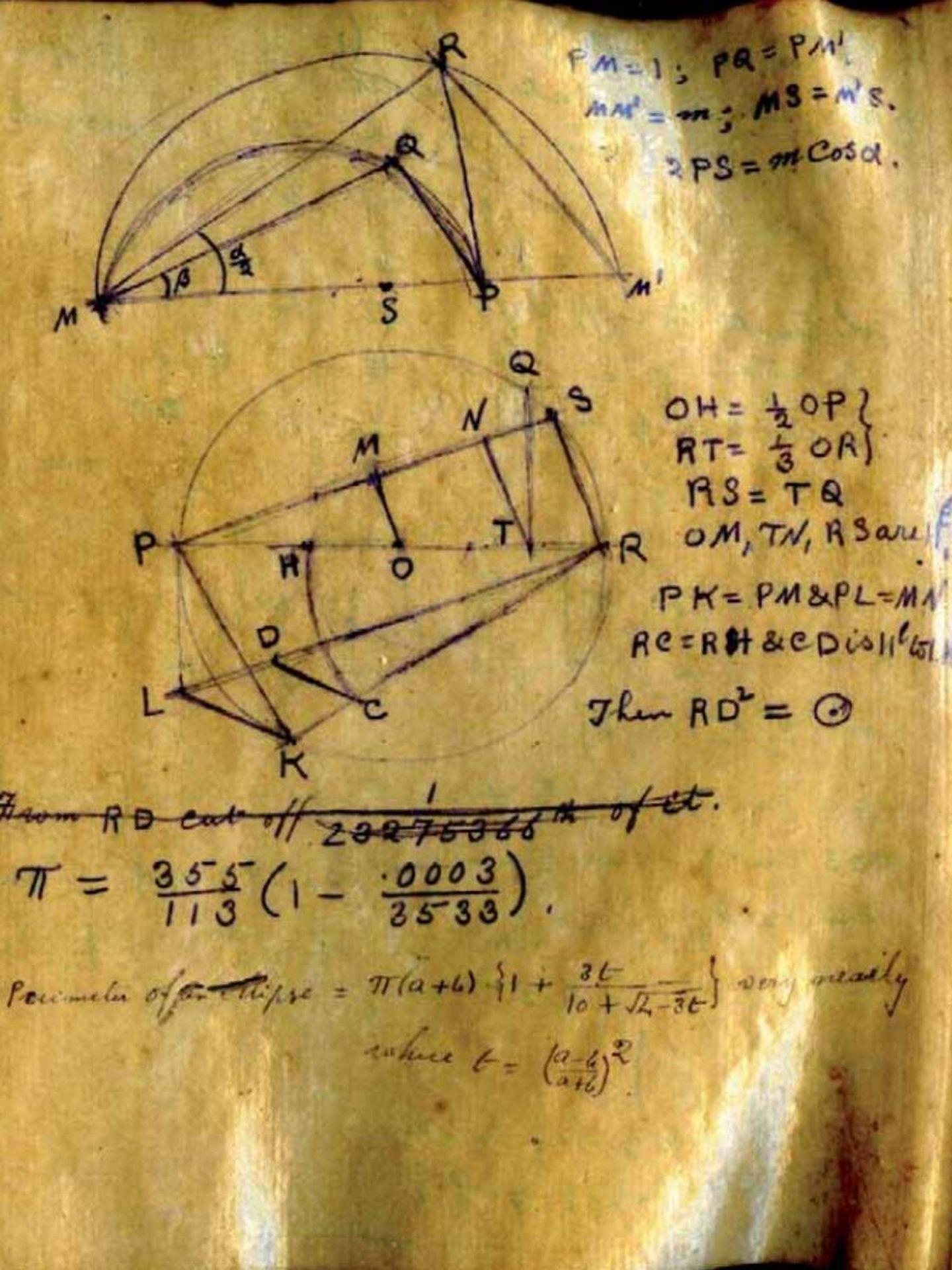 Uno de los manuscritos de Ramanujan.
