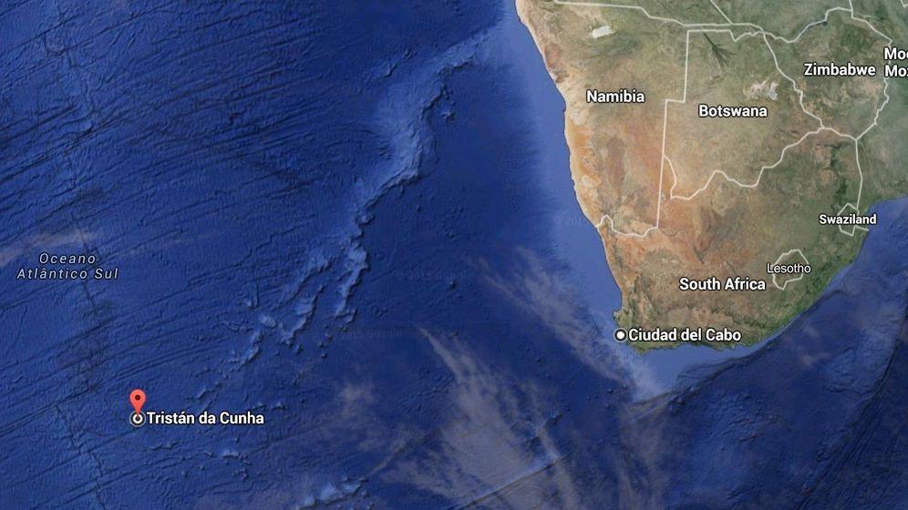Foto: Tristan da Cunha está a casi 3.000 kilómetros de Ciudad del Cabo, en Sudáfrica (Google Maps)