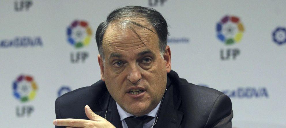 Foto:  Javier Tebas, durante una rueda de prensa. (Efe)