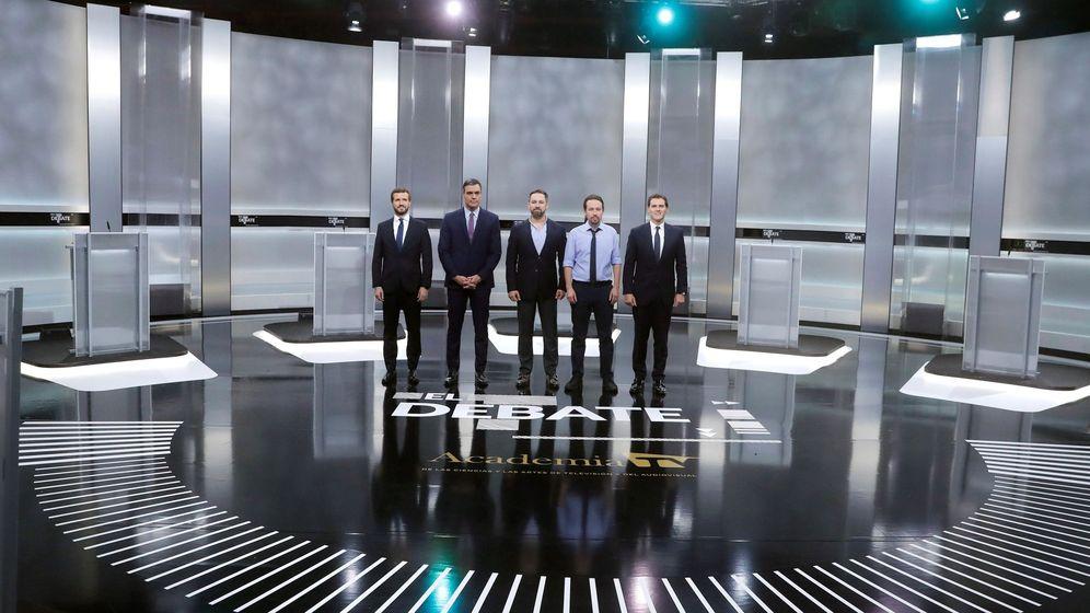 Foto: Los candidatos a la presidencia del Gobierno, en el debate a cinco. (EFE)