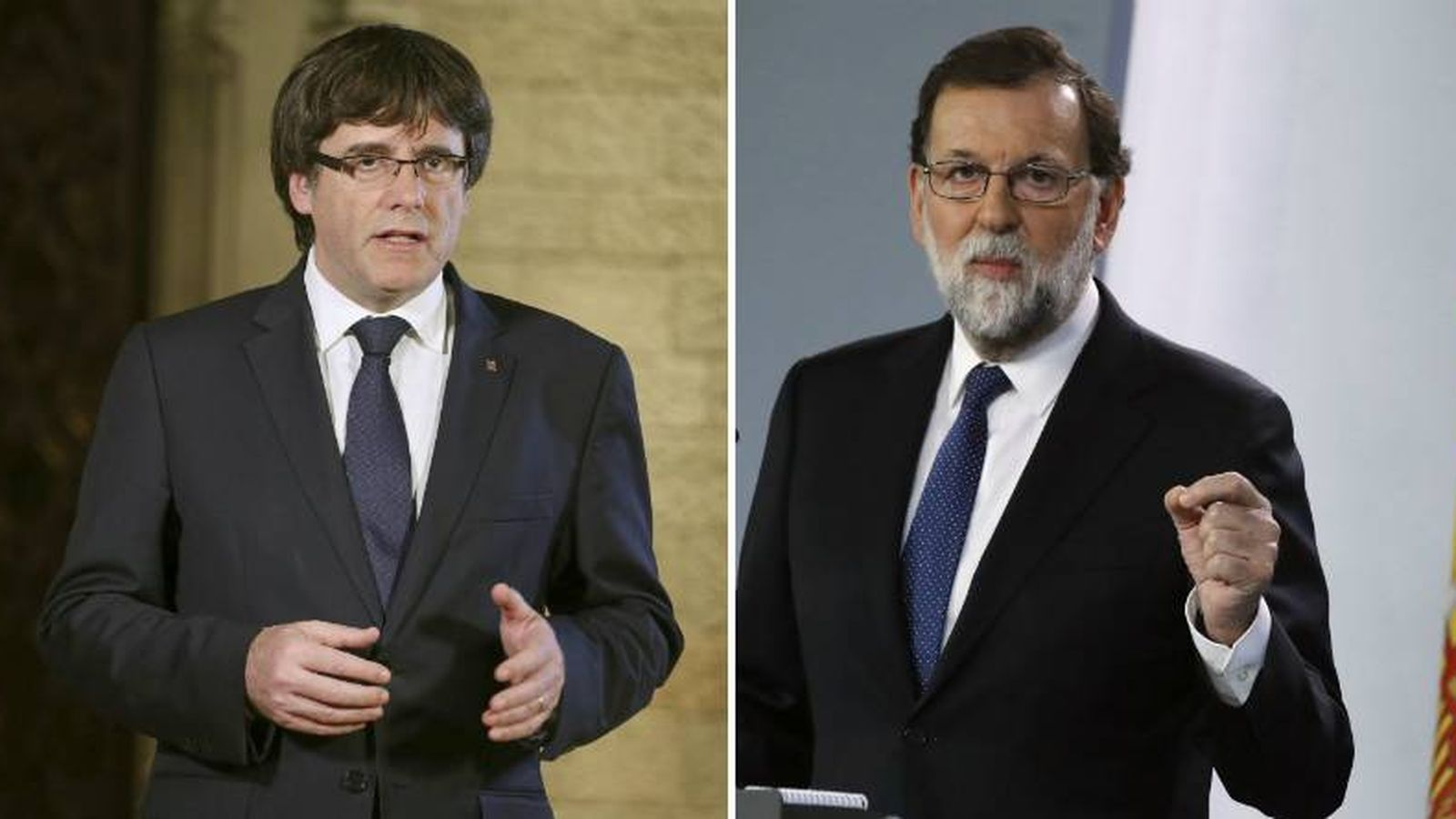 Foto: El presidente de la Generalitat de Cataluña, Carles Puigdemont, y el jefe del Ejecutivo, Mariano Rajoy, en sus respectivas comparecencias del pasado sábado.