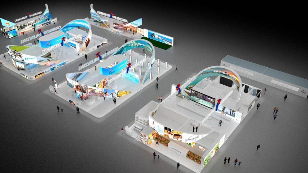 Foto: Simulación del expositor de 1.800 metros cuadrados de la Agencia Valenciana de Turismo en Fitur.