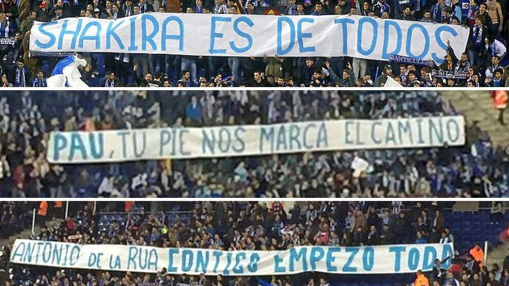 La LFP denuncia las pancartas ofensivas de Cornellà contra el Barcelona y Piqué