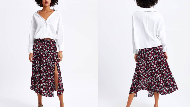 Falda de abertura lateral con botonadura de Zara (25,95 €).
