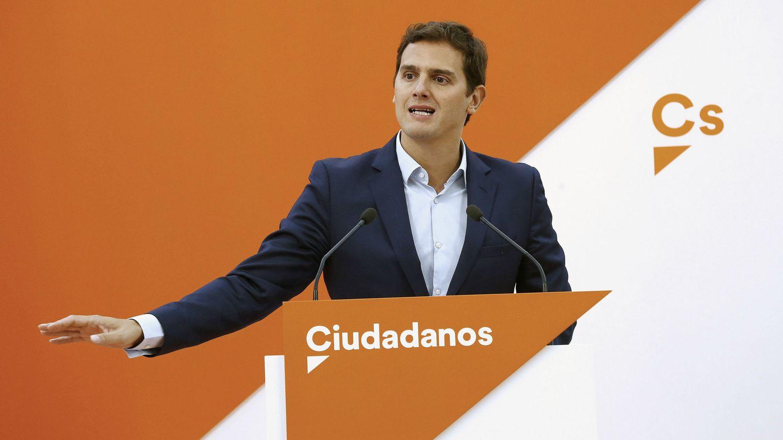 Foto: El presidente de Ciudadanos, Albert Rivera, durante la rueda de prensa. (EFE)