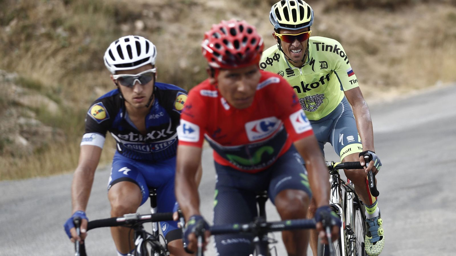 Foto: Quintana, Brambilla y Contador, luchando por la victoria (Javier Lizón/EFE).