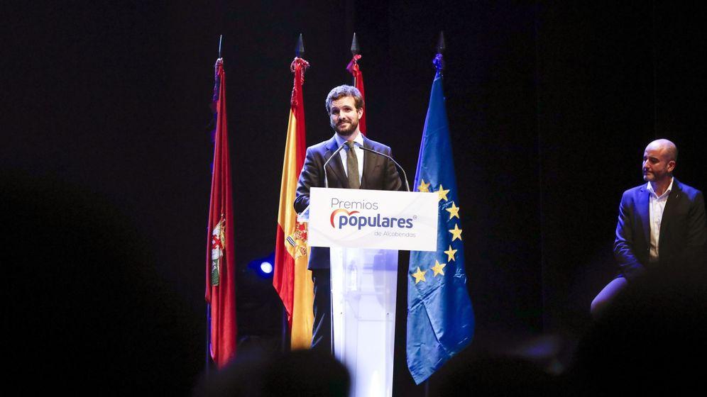 Foto: El presidente del Partido Popular, Pablo Casado, en un acto en Alcobendas. (EFE)