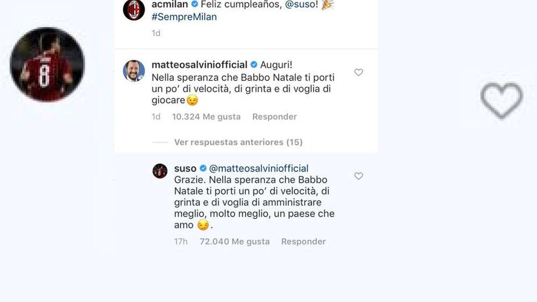 Bronca con doble zasca entre el futbolista Suso y el político Salvini en Instagram