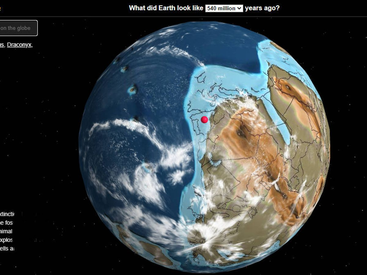 Foto: Mapa interactivo mostrando la posición de España hace 540 millones de años. Foto: dinosaurpictures.org/