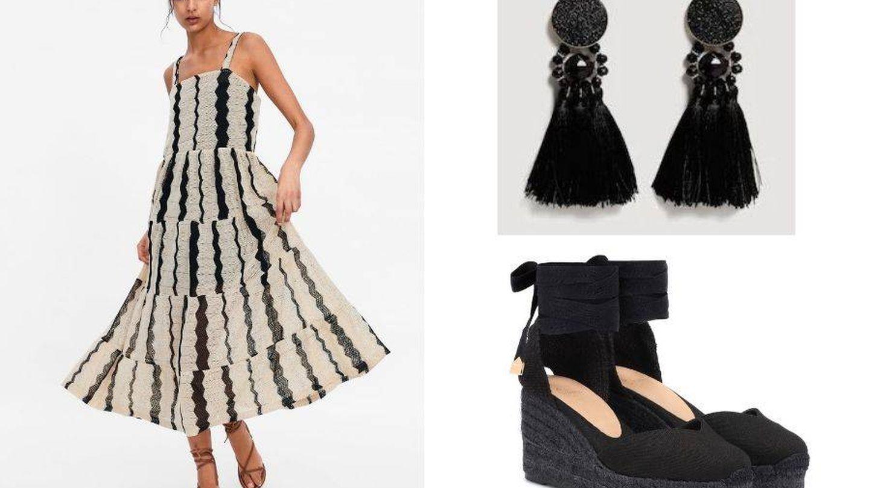 Vestido de Zara, pendientes de Mango y cuñas de Castañer. (Cortesía)