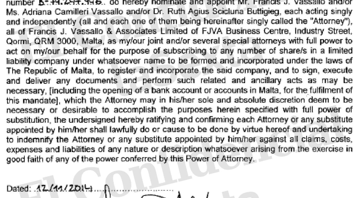 Power of attorney signed by Luis García-Abad. Document form Maltese registry of companis