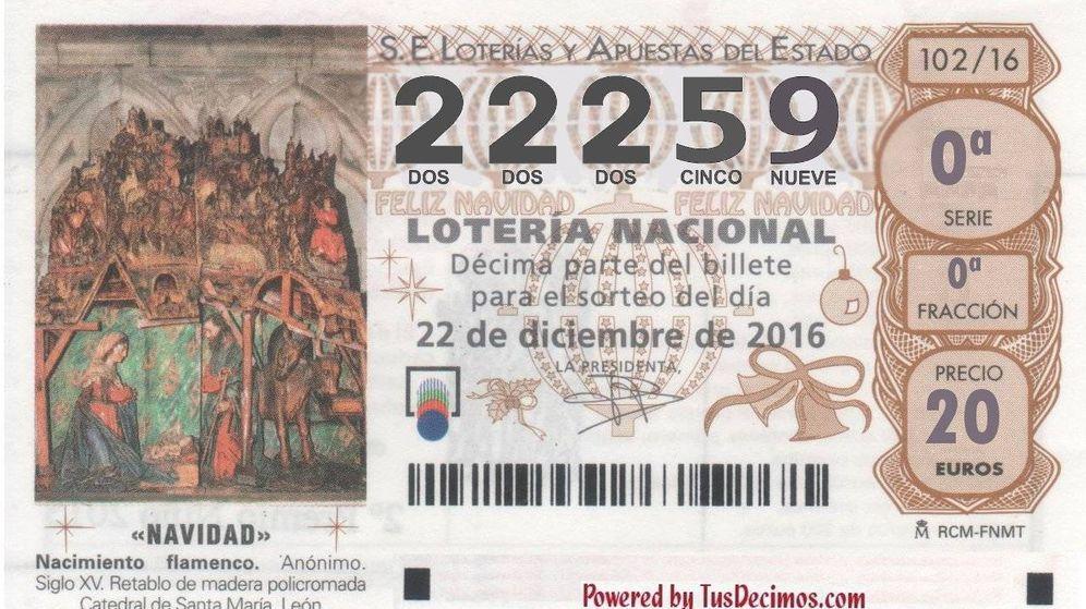 Foto: 22.259, primer quinto premio de la Lotería de Navidad 2016