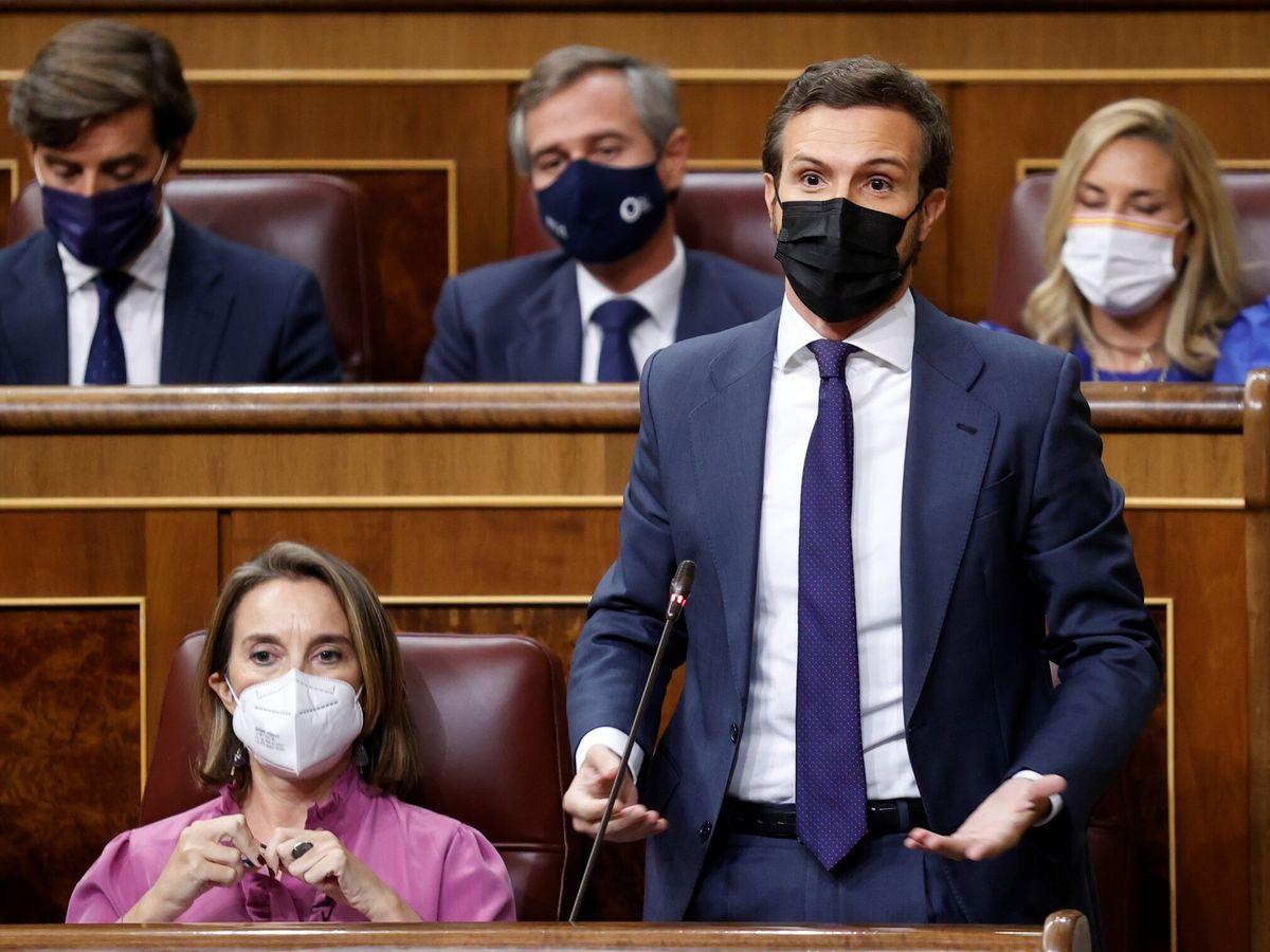 Foto: El líder del Partido Popular, Pablo Casado (d), interviene durante la sesión de control al Gobierno celebrada este miércoles en el Congreso. (EFE)