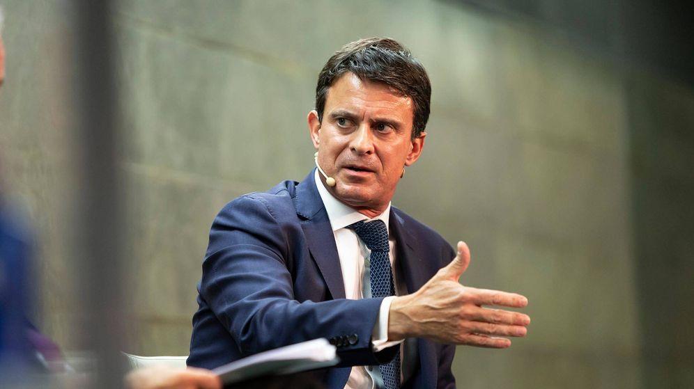 Foto: El candidato a la alcaldía de Barcelona, Manuel Valls, el pasado martes durante su intervención. (Fundación Rafael del Pino)