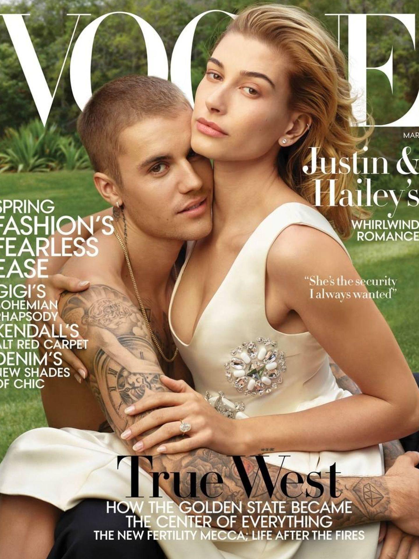 Justin y Hailey en la 'Vogue' de marzo de 2019.