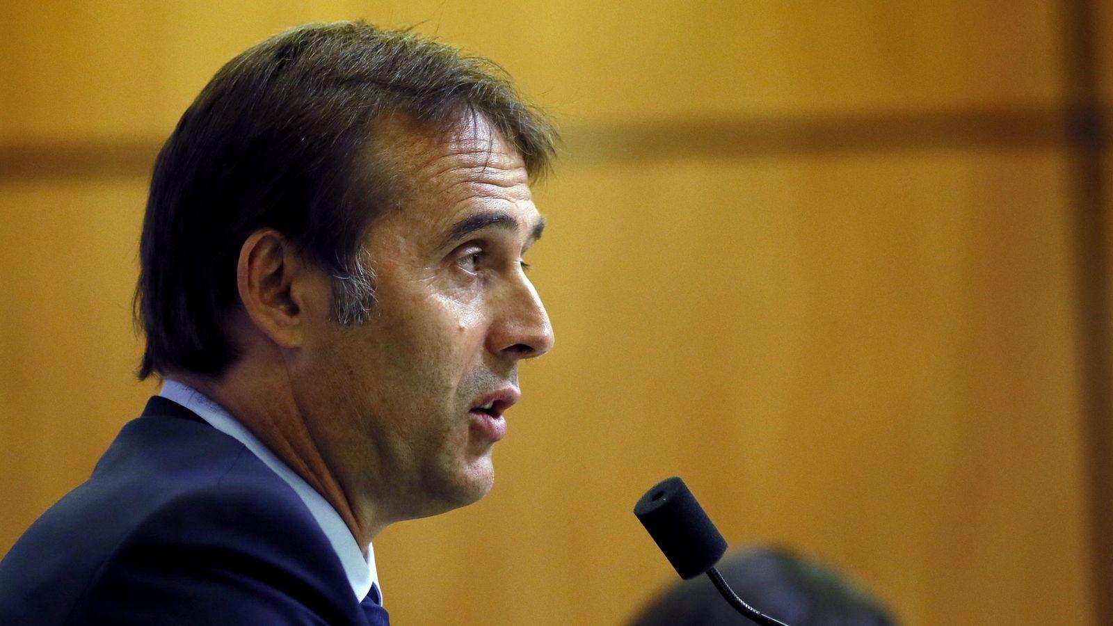 Foto: Julen Lopetegui, durante su presentación como seleccionador español de fútbol. (EFE)