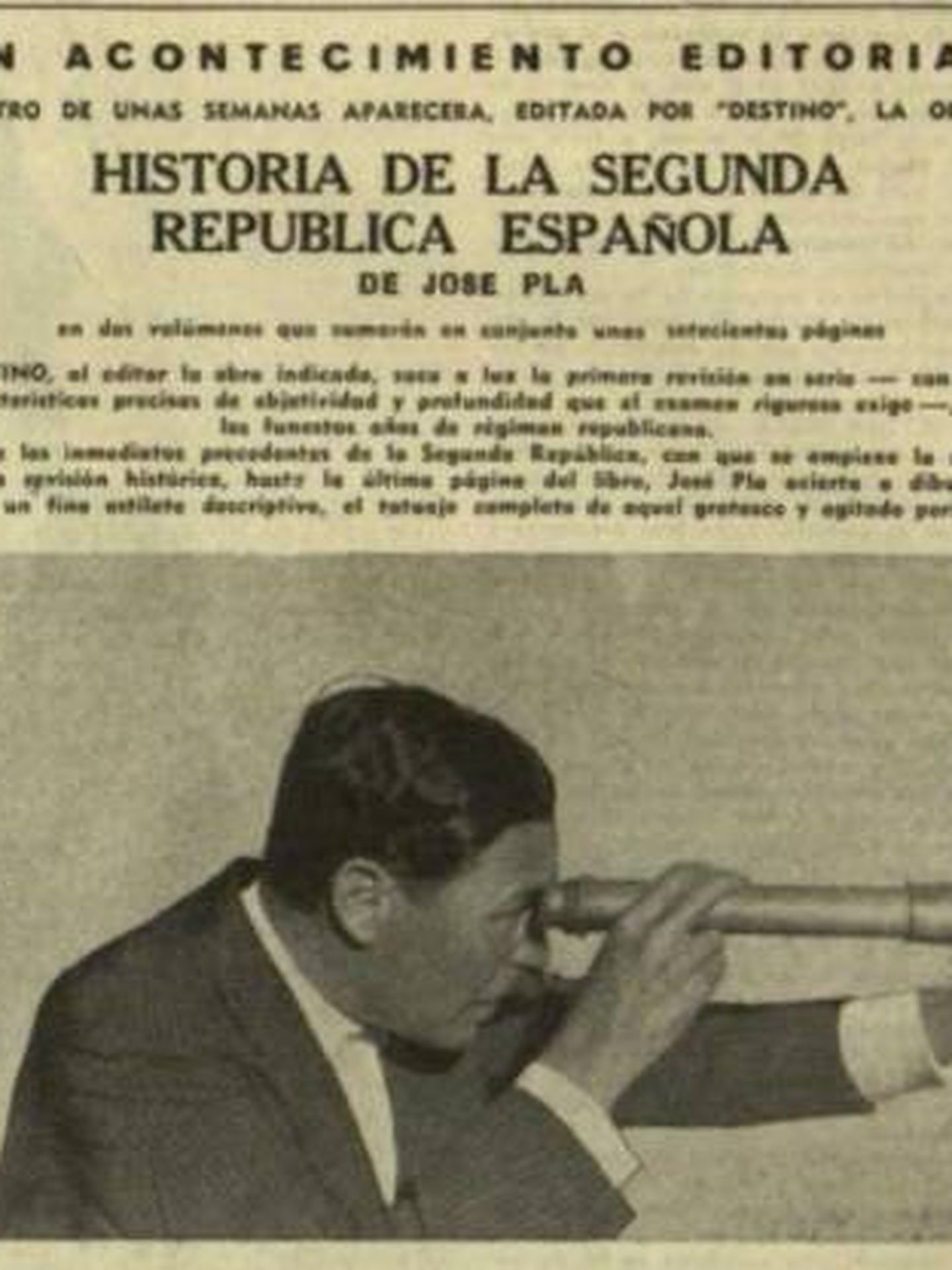 Publicidad del libro de Pla en La Vanguardia Española