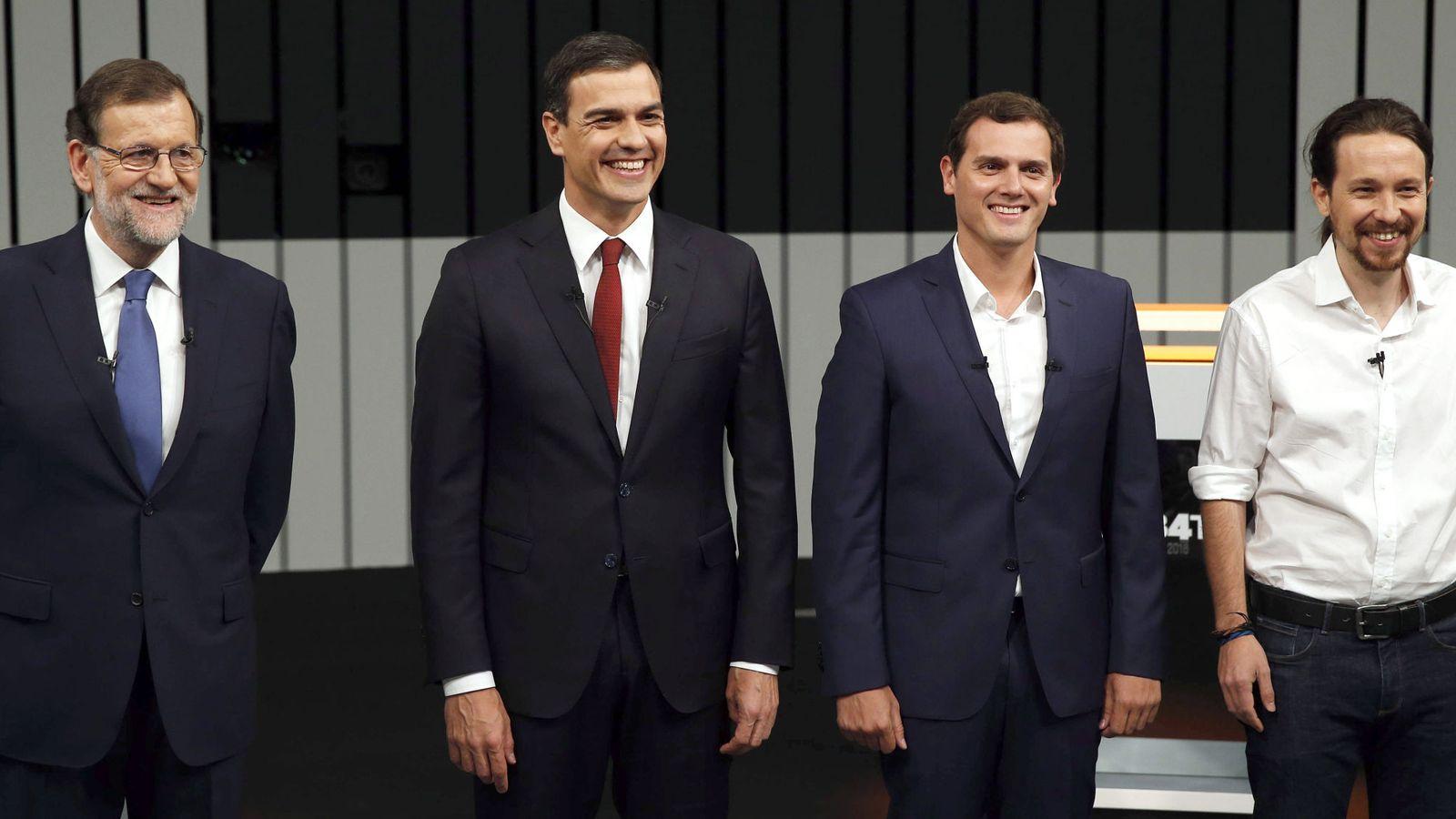Foto: El presidente del PP, Mariano Rajoy, el secretario general del PSOE, Pedro Sánchez, y el líder de Ciudadanos, Albert Rivera. (EFE)