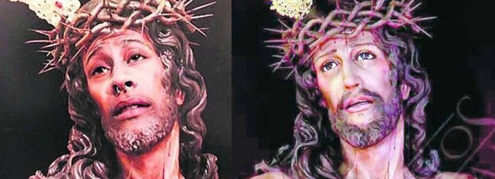 Foto: Montaje realizado por un joven de Jaén con el Cristo de una cofradía y su cara.