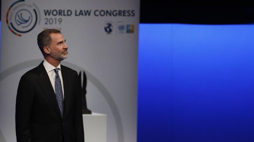 Foto: El rey Felipe, durante la sesión de clausura del XXVI Congreso Mundial de Derecho. (EFE)