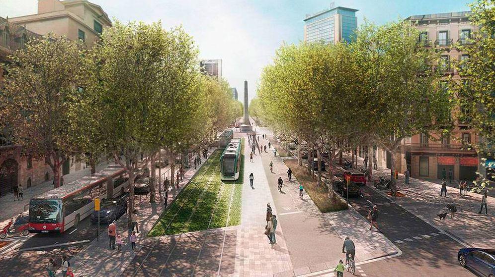 Foto: Una simulación del tranvía por la ciudad de Barcelona. (ATM)